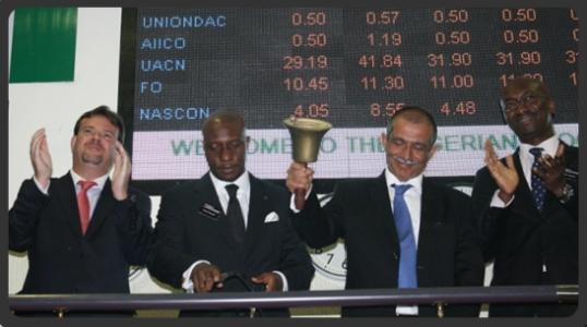 Rakesh Wahi Ringing of the bell Nigerian Stock Exchange